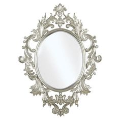 Ornate wall mirror with laurel leaf and scroll detail in a hand-applied silver finish.   Product: Wall mirrorConstru...