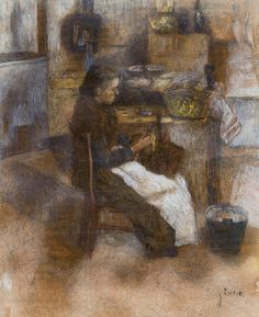 """ James Ensor (Belgian, 1860-1949), Femme épluchant des pommes de terre [Woman peeling potatoes], c.1881 and 1900. Charcoal and watercolour, 72 x 58 cm. """