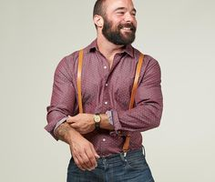 Leather Suspenders & Cool Shirt