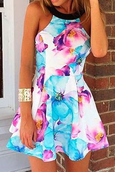 Floral Print Off-The-Shoulder Sleeveless Dress