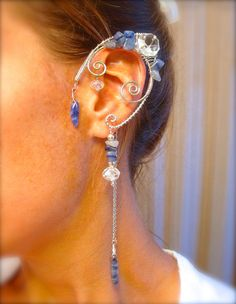 """Renaissance Festival, Fairy or Elf Ears Pair Faerie Ears Blue Aventurine Soladite and by jhammerberg - I have never worn """"elf ears"""", and I think I would find them extremely uncomfortable; however, I still think they look cool!"""