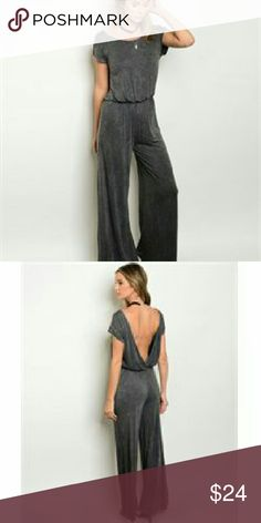 Charcoal Gray Jumpsuit Short cap sleeve mineral wash jumpsuit. The fabric content is 95% polyester/5% spandex. They come from a pet free/smoke free home. I have them in sizes s, m, l. Check out my closet for other colors/styles+ more added soon. Pants Jumpsuits & Rompers
