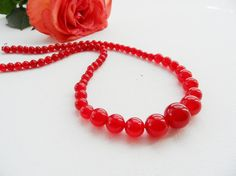 Handmade Fashion Jewellery - Natural Red Jade Beads necklace  Beads measures between 6 and 14 mm  Necklace length 46cm (approx: 18) Comes in