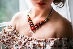 Necklace Coquette Wedding necklace Bib necklace от SweetRose68