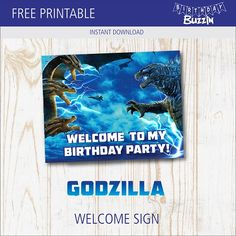 Add a welcome sign to your Godzilla party decorations, use our free printable Godzilla welcome sign template here. Godzilla Party, Godzilla Birthday Party, 4th Birthday, Birthday Party Themes, Party Printables, Free Printables, Sign Templates, Party Needs
