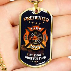 WE FIGHT WHAT YOU FEAR-Best Gift For Firefighter Dog Tag – ShineOn.com Working Mother, Working Moms, Personalized Family Gifts, Glass Coating, Custom Engraving, Firefighter, Dog Tags, New Baby Products, Best Gifts