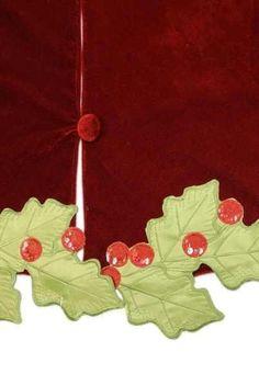 """64"""" velvet green holly applique tree skirt, burgundy"""