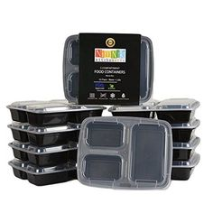 Chefland 3 Compartment Microwave Safe Food Container With Lid Divided Plate Bento Box