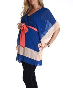 Take a look at this Royal Blue & Peach Chiffon Maternity Cape-Sleeve Tunic by PinkBlush Maternity on #zulily today! $34.99