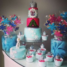Amazing cake, cookies and cupcakes at a Frozen birthday party! See more party ideas at CatchMyParty.com!
