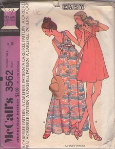 McCall's 3562 Vintage 70's Sewing Pattern DREAMY Boho V Neck Tie Back Babydoll Dress, Summer Boho Maxi Gown #MOMSPatterns