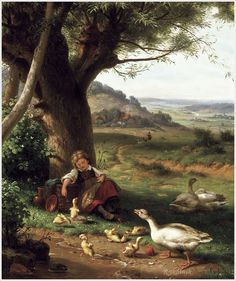 Art pictures - Artist Gustav (konrad G. Classic Paintings, Beautiful Paintings, Landscape Art, Landscape Paintings, Farm Paintings, Château Fort, Cottage Art, Country Scenes, Catholic Art