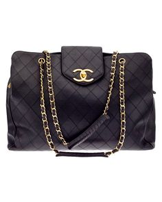 Chanel Black Quilted Leather Overnighter Tote