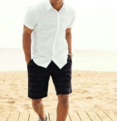 Short Sleeve Button Up with Navy Shorts