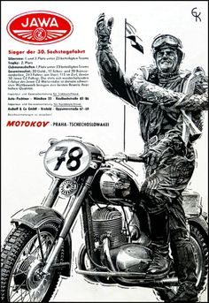 JAWA-motokov Valentino Rossi, Classic Bikes, Classic Motorcycle, Cafe Racing, Bmw Cafe Racer, Vintage Motocross, Illustrations And Posters, Cars And Motorcycles, Vintage Posters