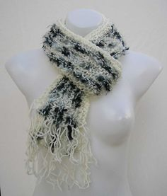 Cream and black scarf, reclaimed knitted scarf, upcycled striped repurposed scarf, cream gray black refashioned scarf recycled yarn scarf by Rethreading on Etsy