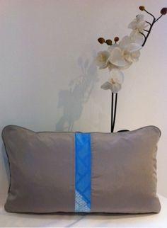 Chrysanthemum & Blue Shibori w grey faux silk - Back
