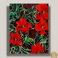 Red Tulips by YARY DLUHOS Flowers Red Tulips Floral Garden 14 Original Modern Art Oil Painting #Impressionism