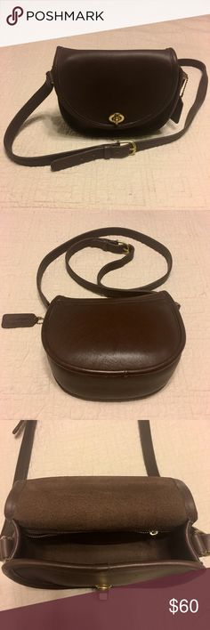 "VTG COACH BROWN LEATHER WATSON BAG H5C-9981 EUC COACH H5C-9951 RICH BROWN QUALITY LEATHER BAG IN EXCELLENT CONDITION.  VERY CLEAN INSIDE & OUT. NO RIPS OR TEARS.  TURNKEY TYPE FRONT CLOSURE.  BRASS TONE HARDWARE. BACK SLIP POCKET.  INTERIOR ZIPPERED POCKET.  COACH FOB TAG ATTACHED.  INTERIOR COACH CREED AFFIXED.  AS WITH ANY PREOWNED LEATHER BAG IT MAY HAVE SOME LIGHT SURFACE SCRATCHES, TARNISH ON HARDWARE AND LEATHER WHICH IS TYPICAL OF ANY PREOWNED BAG.  MEASURES APPROX 7x7x3.25"". GREAT…"