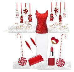 """""""Peppermint Twist"""" by stephanie-mcclaran on Polyvore featuring Alexander McQueen, Clinique, Holiday Lane, MKF Collection, Mark Davis and Alison Lou"""
