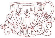 Redwork Teacup 5 Hand Embroidery 3 Sizes