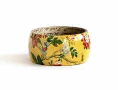 Yellow Wood Bangle, Floral Bracelet, Kimono Print, Painted Wooden Bracelet, Large Size, Unique Jewelry, Gift for her