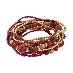 Red Seed Bead Multi Strand Stretch Bracelet, Women's