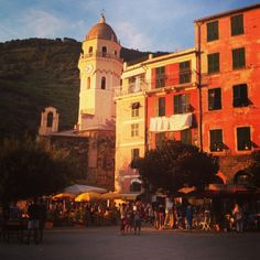 Vernazza Main square at sunset http://www.cinqueterreriviera.com/cinqueterre/seaside-rentals/vacation-rentals-vernazza/