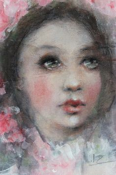 original girl child realism portrait painting  5 1/4 by fadedwest, $75.00