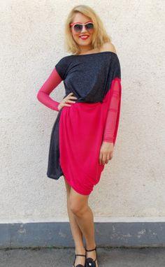 https://www.etsy.com/listing/199493327/asymmetrical-fuchsia-dress-plus-size     #fuchsia #funky #dress #summer
