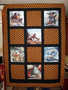 This beautiful Horses Running lap quilt measures 58 x 43 and is a perfect gift for any horse lover.