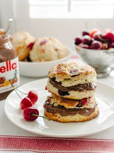 Nutella and cherries make for a charming treat.