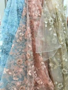 Exquisite 3D Rhinestone Beaded Blossom Bridal Lace Fabric in Beige Blue Pink for Prom Dress nging Haute Couture High End Fabric 51'' width