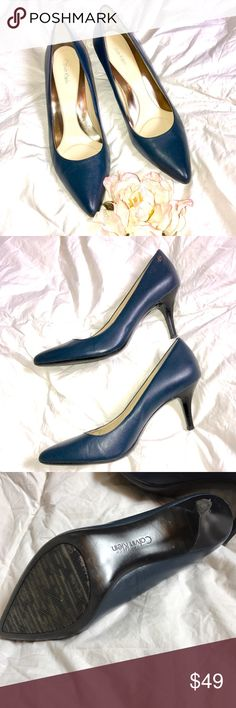 "Calvin Klein Blue Kidskin Leather Pump / Heels Calvin Klein Ashley Heels in Kidskin  leather upper. Slip-on construction. Logo stud accent at heel counter. Pointed toe.  Lightly padded footbed.   Heel 3"", size 9 width M.  Kidskin Calvin Klein Ashley heels. PRICE FIRM Calvin Klein Shoes Heels"