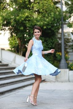 Baby Blues dress and Silver Heels