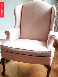 Before & After: Wingback Chair Gets a Wild Waverly Print -  DIY Wingback Chair Upholstery