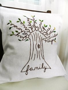 family tree pillow. I made one for my mom for Christmas. It turned out better than I imagined! Took a little time, but well worth it. She cried! :)