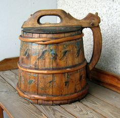 Swedish Antique early 1800s Wooden Tankard