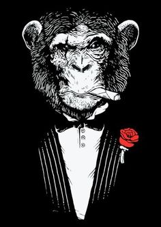 I want this as a tattoo, inside an ornate frame! Monkey Drawing, Monkey Art, Monkey Wallpaper, Graffiti, Monkey Tattoos, King Tattoos, Wise Monkeys, Animal Logo, Sailor Jerry