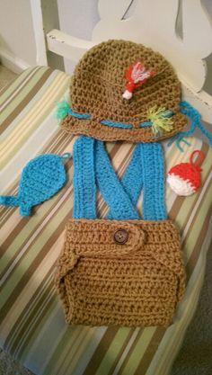 Fisherman Newborn Photography Prop Crochet www.facebook.com/vintageredcollection