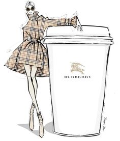 M O N D A Y S ☕️ {Shop at meganhess.com} @Burberry Latte #MeganHessCoffeeGirls #FashionIllustrations @meganhess_official| Be Inspirational ❥|Mz. Manerz: Being well dressed is a beautiful form of confidence, happiness & politeness