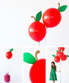 Back-to-School Craft Project DIY Apple Balloons Back To School Party, Back To School Crafts, Apple Birthday Parties, Deco Ballon, Snow White Birthday, Apple Theme, Helium Balloons, Princess Party, First Birthdays