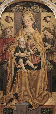 CARLO CRIVELLI (1435 – 1495) - Madonna con Bambino in Trono.