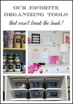 Our favorite organizing tools. How to organize your home on a budget using inexpensive items you already have on hand or from discount sources to organize your home.