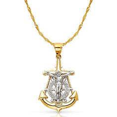 Length Jay Seiler Stainless Steel Polished and Laser Cut w//CZ Mary 22 inch Necklace 22 in,