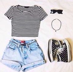 Cute summer outfit :) | Spring | Stripes | Converse | Jean | Shorts | Girl | Tumblr | Teenager | Girly | Sunglasses | Bracelet | Fashion | Follow back | Follow for follow |