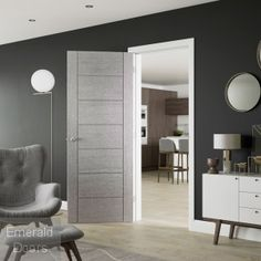 Corsa Light Grey Internal Door The Corsica light grey door is manufactured with real wood veneer that is impregnated with the grey colour. An ideal choice for any contemporary home the Corsica light grey door is supplied fully finished with a clear satin Grey Internal Doors, Grey Doors, Wood Doors, Exterior Entry Doors, Interior Barn Doors, Contemporary Interior Doors, Modern Interior, Unique Front Doors, Indoor Doors