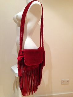 ZARA Boho Red Suede Leather Tassel Cross Body Messenger Shoulder Bag NEW eBay auction ends today 15th feb 2015