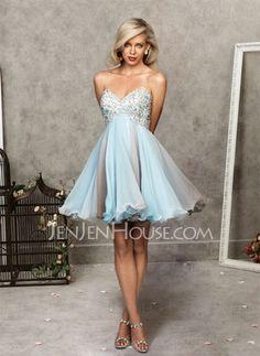 Homecoming Dresses - $125.99 - Charming A-Line/Princess Sweetheart Short/Mini Chiffon Charmeuse Homecoming Dresses With Beading (022004621) http://jenjenhouse.com/pinterest-g4621