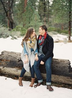 cozy winter engagement + great layering